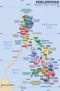 Map of the Philippines showing the location of all the regions and provinces.